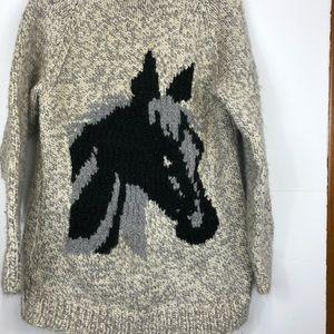 Vintage Cowichan horse wool zip sweater Sz L